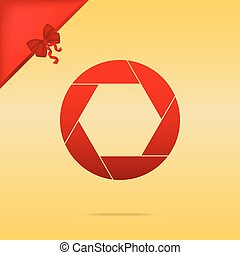 Photo sign illustration. Cristmas design red icon on gold background.