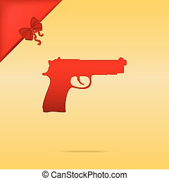Gun sign illustration. Cristmas design red icon on gold background.