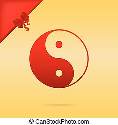 Ying yang symbol of harmony and balance. Cristmas design red icon on gold background.