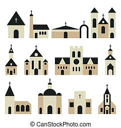 Christian church with basilica and tower vector set....