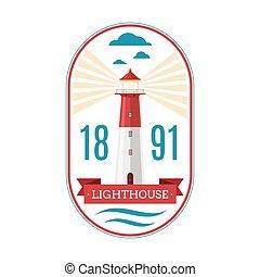 Marine lighthouse vector logo