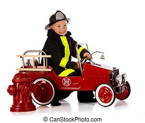 Preschool Fireman - An adorable preschooler in fireman gear...