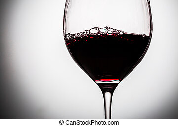 Bubbles of wine in beautiful glass