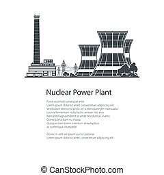Silhouette Nuclear Power Plant , Poster Brochure - Text and...