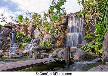 Waterfall in garden at the public park.