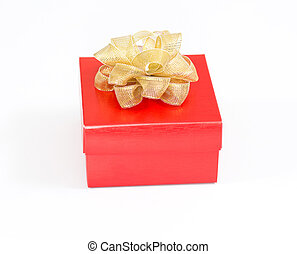 Red christmas gift box on white background