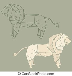 Set illustration paper origami of lion. - Set vector simple...