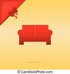 Sofa sign illustration. Cristmas design red icon on gold background.
