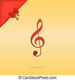 Music violin clef sign. G-clef. Treble clef. Cristmas design red