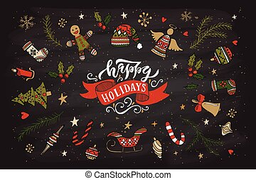 Hand sketched happy holidays logotype, badge/icon typography with christmas attributes.