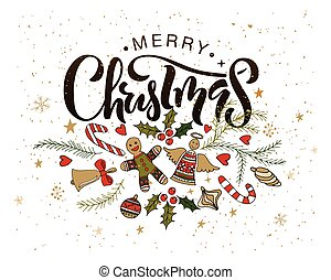 Hand sketched Merry Christmas logotype, badge/icon typography with christmas attributes.