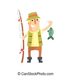 Smiling Amateur Fisherman In Khaki Clothes Holding A Fish He...