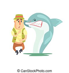 Scared Amateur Fisherman In Khaki Clothes Meeting A Shark...