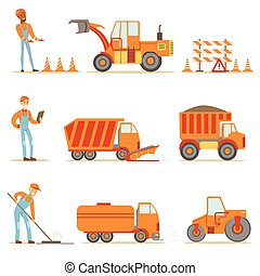 Happy Road Construction And Repair Workers In Uniform And Heavy Trucks At Construction Site Set Of Cartoon Illustrations