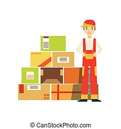 Paper Box Packages Piled Up In Warehouse With A Delivery Company Worker Standing Next In Red Dungarees Uniform