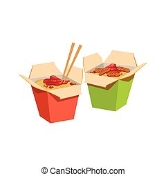 Two Paper Boxed With Wok Fried Noodles For Takeout Lunch...
