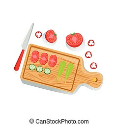 Cut Tomato, Cucumber And Salad On Cutting Board Fresh Organic Vegetables Illustration With Farm Grown Eco Products