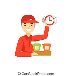 Delivery Service Worker In Red Uniform Holding Packed Wok Noodles And Clock Ready To Ship The Order
