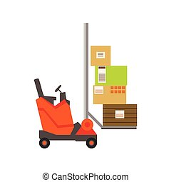 Orange Forklift Warehouse Car Lifting The Paper Box Packages, Storeroom Machinery Without Driver