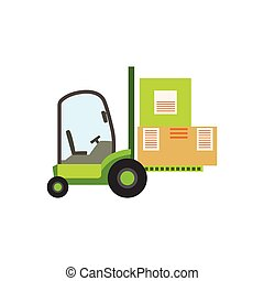 Green Forklift Warehouse Car Lifting The Paper Box Packages, Storeroom Machinery Without Driver