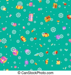 seamless pattern gift box for holiday presents with ribbons and bows, christmas presents background, happy birthday or xmas vector illustration