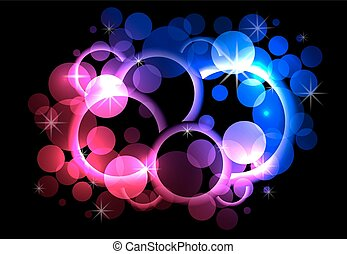 Abstract background with circles, sparks, rings on a dark background.