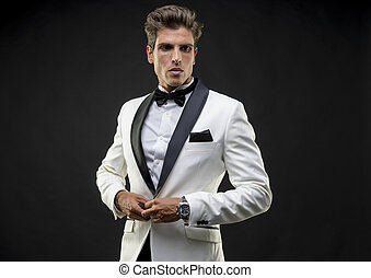 Wedding, Elegant and handsome man dressed in tuxedo for New...