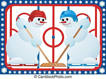 Ice Hockey - Team winter sport. Ice Hockey. Snowmen-hockey...