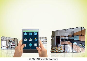 sostenible, cubos, Crecimiento,  concept:, mano