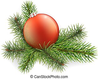 Christmas ball lies on the spruce branches