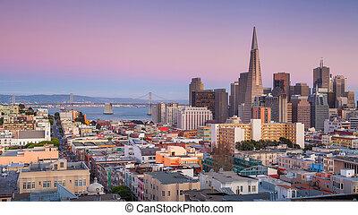 San Francisco. - Panoramic image of San Francisco skyline at...