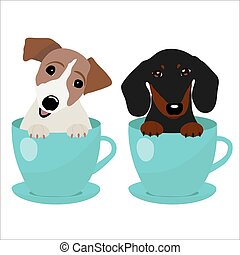 Jack Russell Terrier and Dachshund dog in blue teacup,...