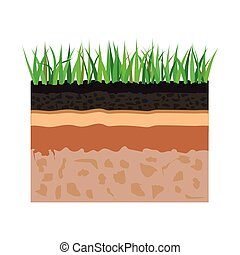 soil layers with grass - illustration of diagram for layer...
