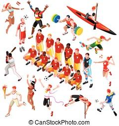 Sport Isometric Olympic Set Sportsmen Vector Illustration -...