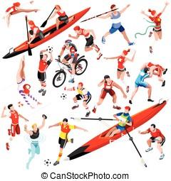 Sport Isometric Olympic Set Vector Sportsmen Illustration -...