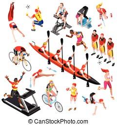 Sport Isometric Sportsmen Olympic Game Set Vector...