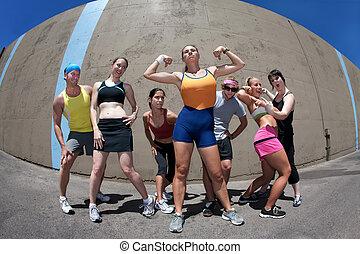 mulher, posar, condicão física, amigos