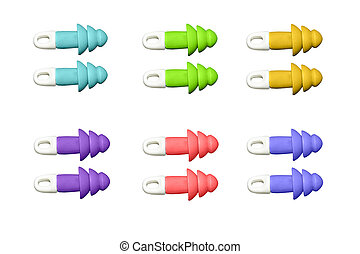 ear plugs multi-colored on white background - ear plugs...
