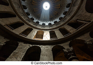 Under the dome of the Church of the Holy Sepulchre in...