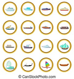 Ship and boat set, cartoon style - Ship and boat set in...