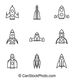 Flight in cosmo icons set, outline style - Flight in cosmo...