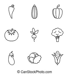 Vegetables icons set, outline style - Vegetables icons set....