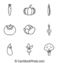 Fresh vegetables icons set, outline style - Fresh vegetables...