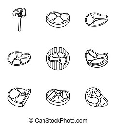 Beef icons set, outline style - Beef icons set. Outline...