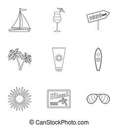 Miami icons set, outline style