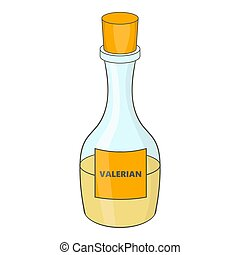 Small bottle with valerian icon, cartoon style - Small...