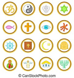 Religion set, cartoon style - Religion set in cartoon style...