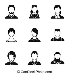 Avatar people icons set, simple style - Avatar people icons...