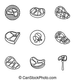 Meat icons set, outline style - Meat icons set. Outline...