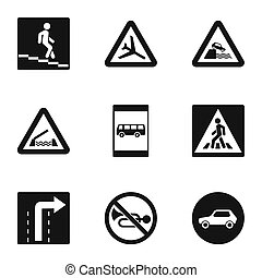 Road sign icons set, simple style - Road sign icons set....